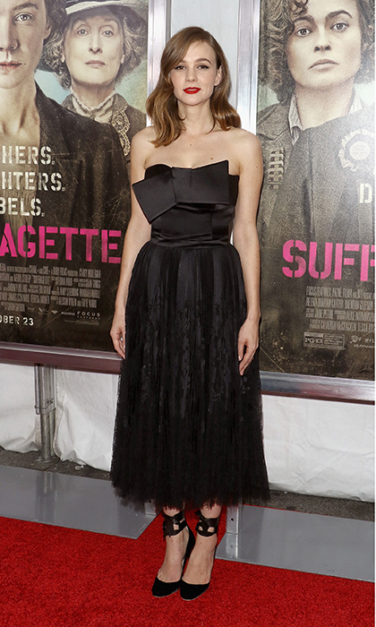 New mom Carey Mulligan topped off her super sweet Alexander McQueen dress with a pair of whimsical ribbon-tie pumps at the red carpet premiere of 'Suffragette.'