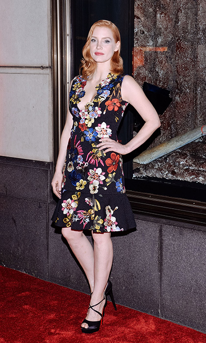 We loved Jessica Chastain's modern take on fall florals with this A-line Erdem dress featuring a gorgeous embroidered neckline.