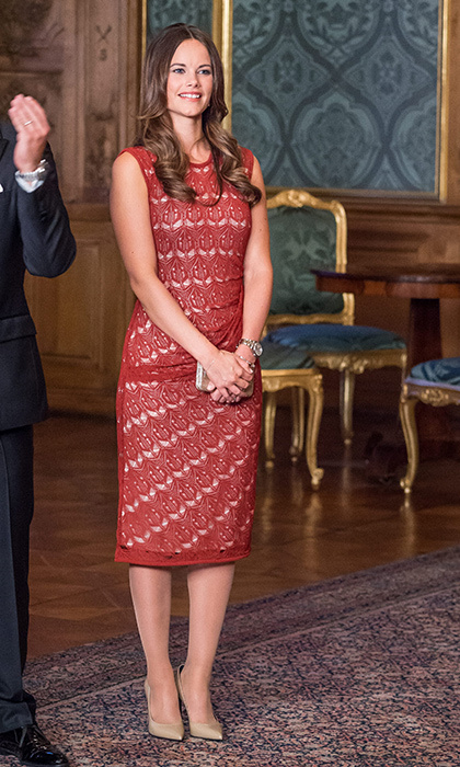 No sign of a baby bump just yet, as Sofia steps out to attend a dinner party at the palace. 