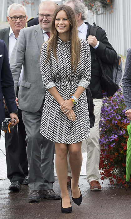 Sofia had rainy day in Varmland wearing a casual chevron-patterned shirt dress.  