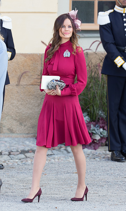 The princess paired her hot pink Gucci dress with pale pink bow at the christening of Princess Madeleine's youngest child, Prince Nicolas. 