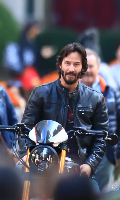 Keanu Reeves revs up his engine outside a taping of 'Today' in New York. Photo: © Getty Images