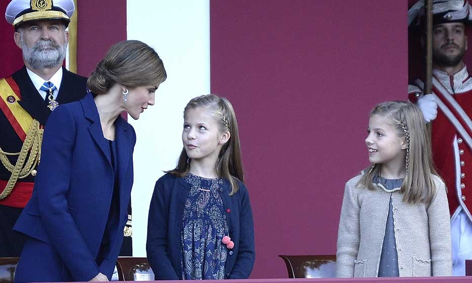 Queen Letizia of Spain joked around with daughters Princess Leonor, 9, and Princess Sofia, 8, during Spain's National Day celebrations on Oct. 12. 