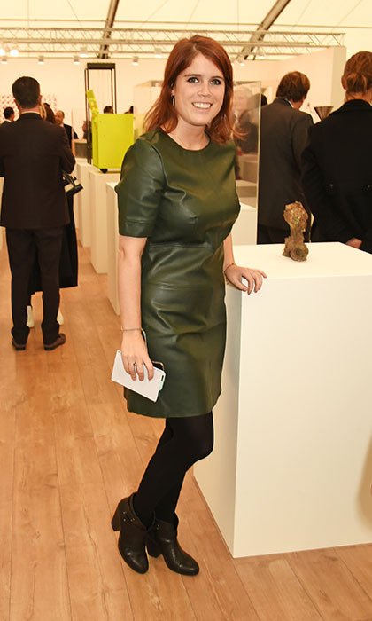 Princess Eugenie was a perfeclty stylish canvas at a VIP preview of the Frieze Art Fair in Regent's Park on Oct. 13, courtesy of her green leather dress and black booties.