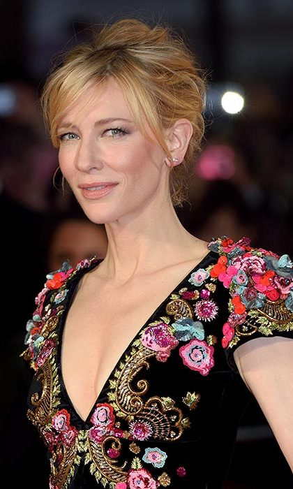 Cate Blanchett showed off her beauty credentials with her blonde hair styled into a striking updo and swept into a side fringe at the Truth premiere.