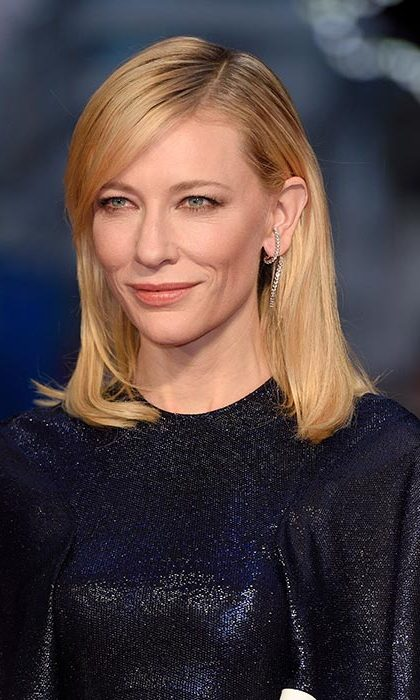 Cate Blanchett wore her hair down and swept into a side parting for the Carol premiere.