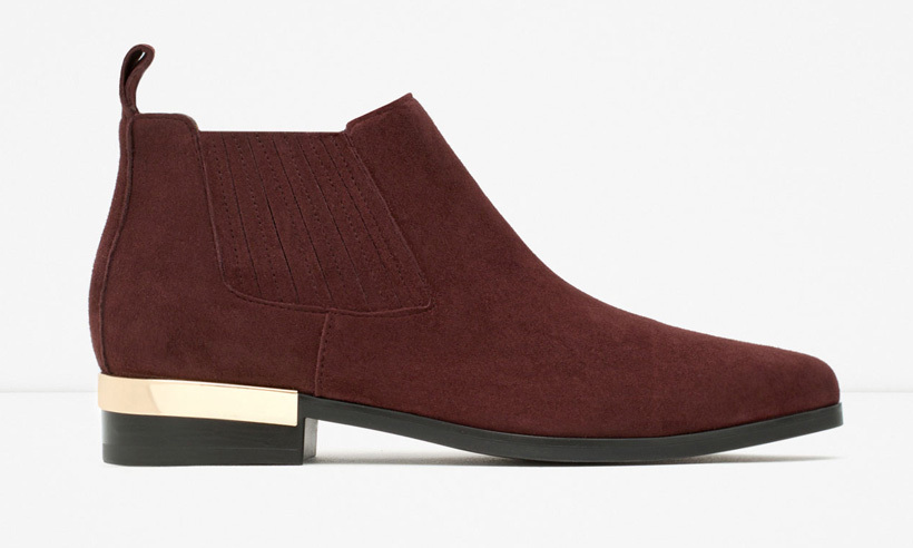 Flat leather ankle boots with metal plaque, $70, zara.com