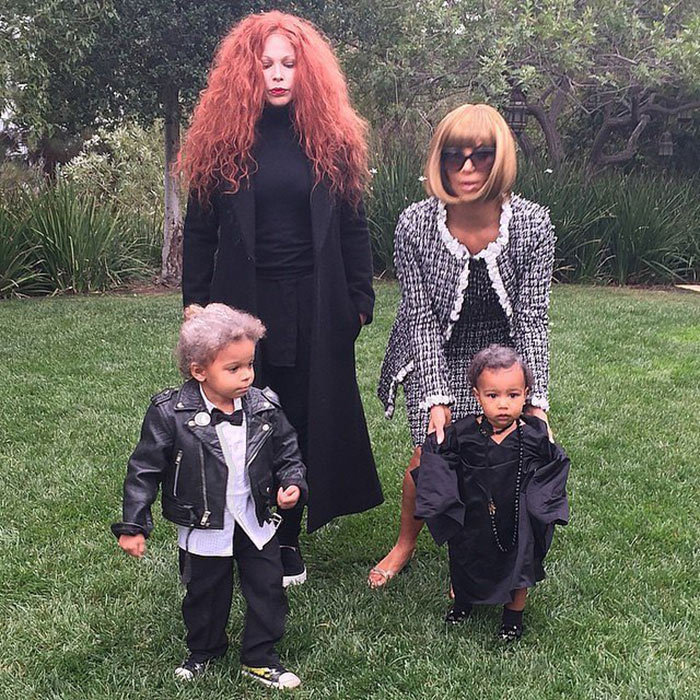 America's other first family recreated fashion royalty last Halloween when Kim Kardashian channeled Vogue editor Anna Wintour and daughter North West dressed as legendary editor at large Andre Leon Talley. They are joined by Kim's makeup artist, Joyce Bonelli, as creative director Grace Coddington and her son, who took on designer Karl Lagerfeld.