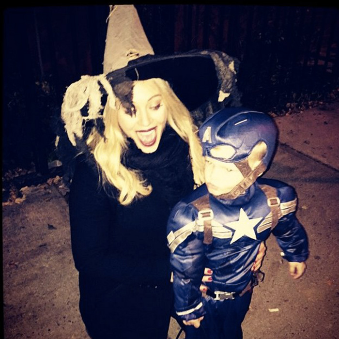Hilary Duff revived her ghostly 'Casper and Wendy' days, donning a Wicked Witch of The East costume while her son, Luca, trick-or-treated as Captain America. Good and evil, unite!