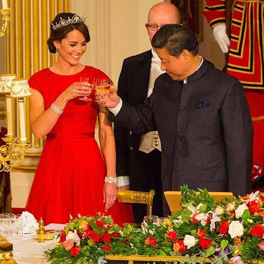 Kate also showed off her skill at diplomatic dressing earlier this week when she attended her first ever state banquet that was being held in honour of the Chinese President Mr Xi JinPing.