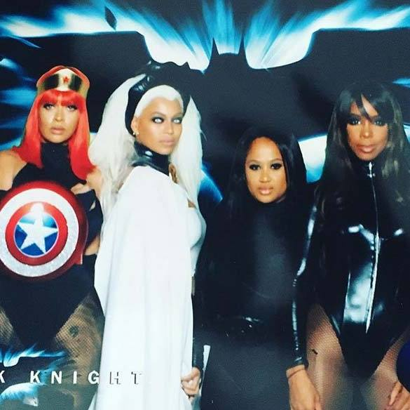 Former Destiny's Child bandmates Beyoncé (second from left) and Kelly Rowland (far right) with friends La La Anthony and Angie Biyonce