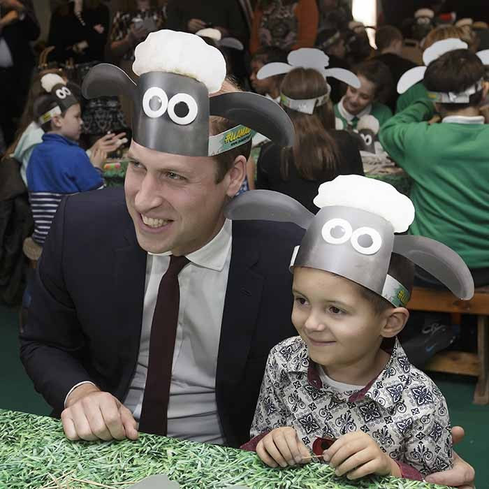 Who knew William was such a hat man? The prince goofed around with an adorable tot at the BAFTA Charities Forum on Oct. 26. The hats are in honour of the day's special event: a screening of 'Shaun the Sheep: The Farmer's Llamas.'