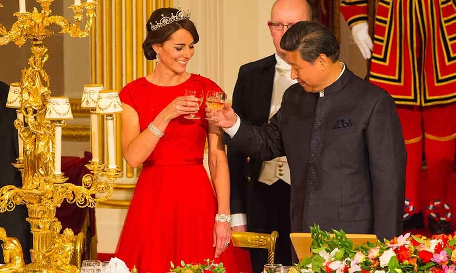 Cheers! Clad in the Lotus Flower tiara, Kate toasts with Chinese president Xi Jinping at her first ever state banquet on Oct. 20 at Buckingham Palace.