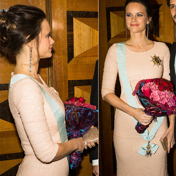 Princess Sofia showed off her growing baby bump in a stunning floor-length gown on Oct.23. 