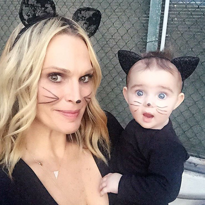 Molly Sims and her eight-month-old daughter Scarlett make a purrfect pair of kitty cats. 