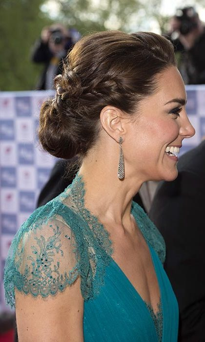 Kate showed off her beauty credentials at the Olympic Concert in 2012 with her hair swept up into a slicked back updo with one side braided for a touch of extra glitz and glamour.