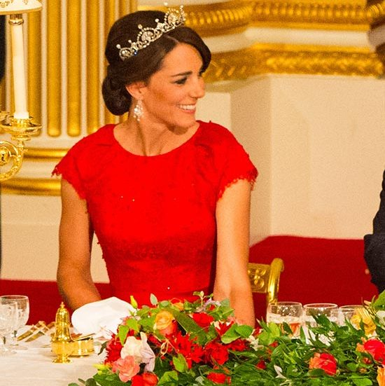 The Duchess made quite the impression as she attended her first ever state banquet, her locks swept into an elegant chignon and accessorized with a glittering tiara.