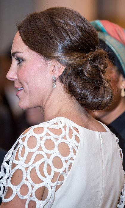 Kate had her glossy brunette tresses curled into loose waves and pinned back for a glamorous finish at a reception hosted by the Governor General during her and Prince William's tour of Australia and New Zealand.