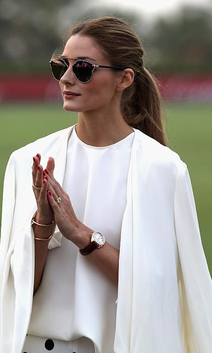 Olivia Palermo was the epitome of elegance at the International Dubai Polo Challenge with her hair swept back into a loose ponytail.