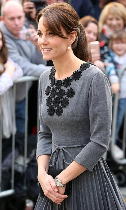 The Duchess of Cambridge opted for a sleek and layered ponytail as she arrived at the Islington Town Hall to visit Chance UK's Early Intervention Programme.