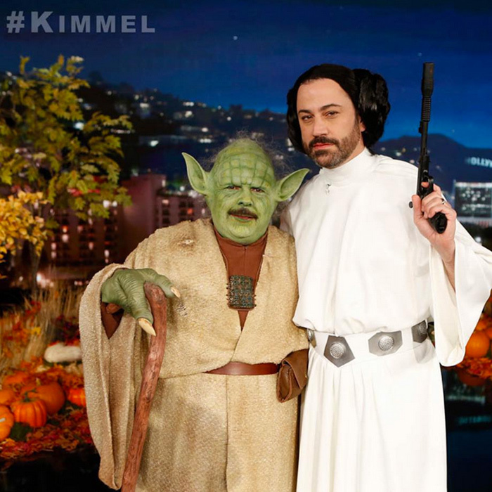 Late night host Jimmy Kimmel tries on Princess Leia's famous buns, while sidekick Guillermo is the perfect Yoda. 