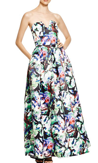 Paint the town floral in this simply elegant watercolour-printed ball gown complete with a peek-a-boo sweetheart neckline. 