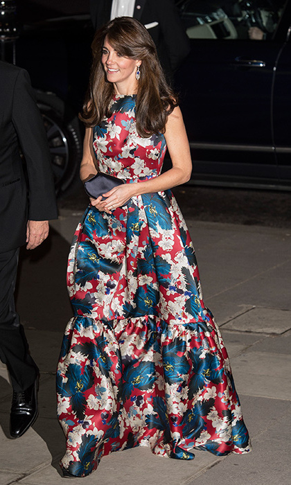The Duchess of Cambridge pulled out all the fashion stops to attend the 100 Women in Hedge Funds Gala Dinner on Oct. 27, turning heads in a show-stopping $5,600 floral-print gown by Canadian-born designer Erdem. The maroon-and-midnight-blue number featured a pretty orchid pattern and exaggerated, ruffled hem that Kate rocked with ease. Here, we round up 5 floral gowns that will have you in full bloom just like Duchess Kate.