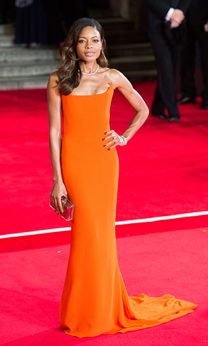 'Spectre' star Naomie Harris stole the show in figure-skimming Stella McCartney at the film's world premiere in London. The pop of orange perfectly suited the actress's skin tone and the train added a dose of Bond-worthy glamour.