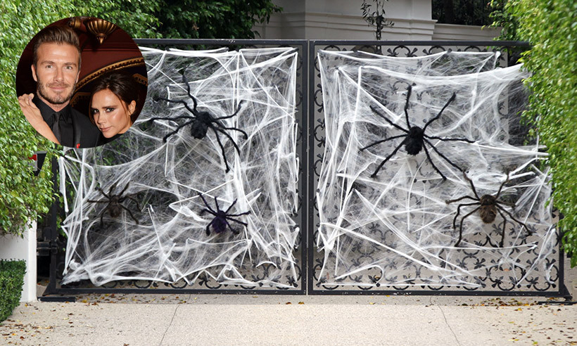 David and Victoria Beckham bedecked their entryway with giant creepy crawlers and lots of webs!