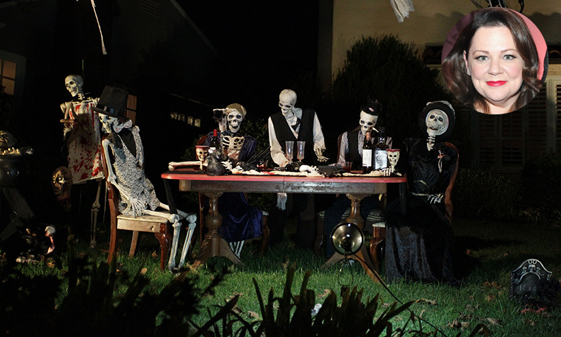 The queen of Halloween? Melissa McCarthy's home hosted a skeleton dinner party, complete with jauntily dressed attendees, skull wine glasses and a blood-splattered server.