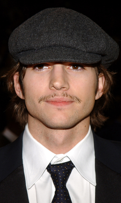 Sparse and thin, Ashton Kutcher's mini moustache popped up to say hello back when he was with actress Demi Moore. Here, he attends an all-star celebrity NBA game.
