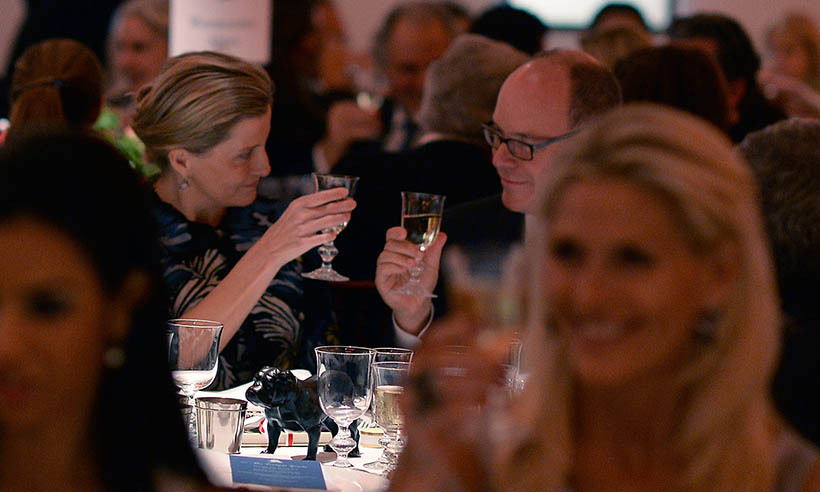 Sophie, Countess of Wessex, toasts Prince Albert of Monaco at a dinner hosted by his foundation in honour of the Winston Churchill auction at Sotheby's in London. 