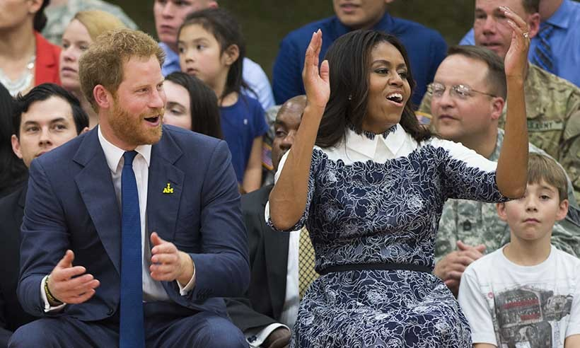 Prince Harry made a one-day visit to Washington on Oct. 28 to help promote his upcoming Invictus Games tournament, which will be held in Orlando in May 2016. First Lady Michelle Obama helped the prince cheer on players during a Wounded Warriors wheelchair basketball game at Fort Belvoir in Virginia. 