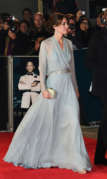All eyes were on the royal in a stunning pale-blue Jenny Packham gown as she stepped onto the red carpet at London's Royal Albert Hall in October 2015 for the premiere of the latest James Bond film <em>Spectre</em>. The beautiful brunette put her slim physique on display in the dress, which featured crossover details that showed off a hint of Kate's lower back.