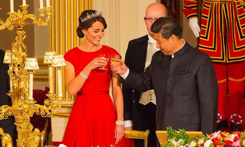 Kate looked sensational in bespoke Jenny Packham at her first ever state banquet at Buckingham Palace in October 2015. The senior royal was as radiant as ever as she marked the exciting milestone wearing the royal family's Lotus Flower tiara and a platinum and diamond bracelet on loan from the Queen. 