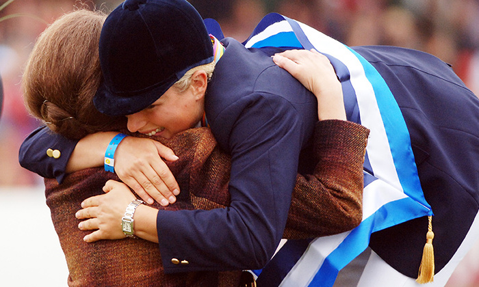 Zara Phillips knows first-hand that moms give the best hugs! The equestrian got a congratulatory cuddle from Princess Anne after being named the European Champion at The Blenheim Petplan European Eventing Championships in 2005.  