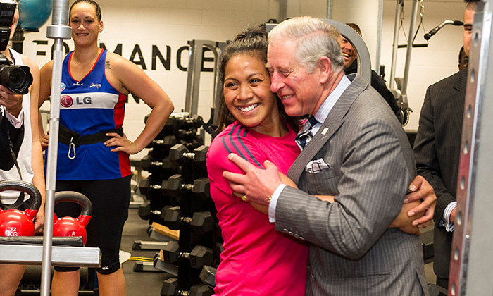 Prince Charles loves to hand out hugs during his travels around the world. Here, the future king embraces a well-wisher during a visit to AUT Millennium in Auckland in 2012.