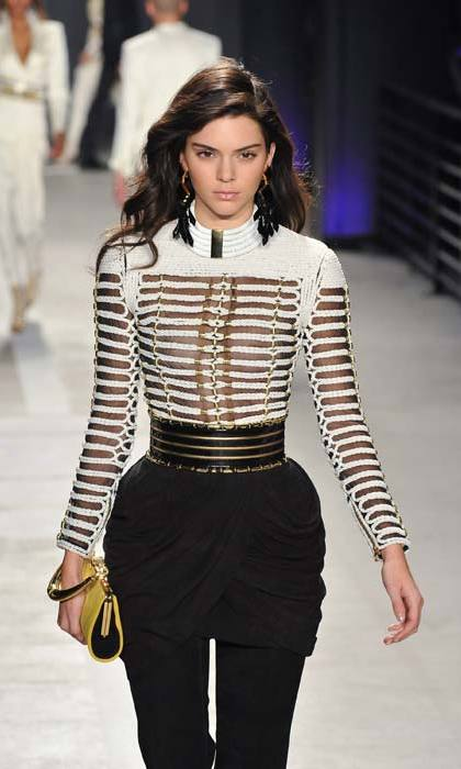Kendall Jenner strutting the runway at Balmain. 