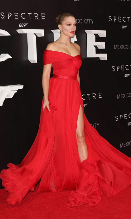 The Parisian beauty won over fashion critics in Mexico City in an off-the-shoulder flowy red gown by Miu Miu. 
