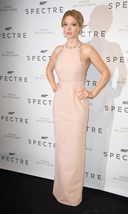 Léa's 'Spectre' tour was overflowing with gowns by Miu Miu, including this halter-neck column dress in the palest of pinks. 
