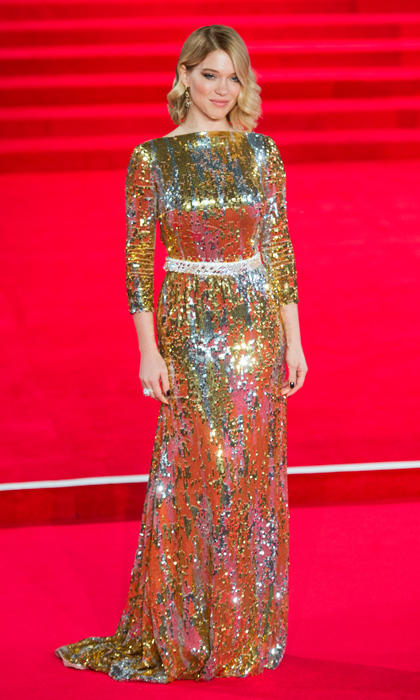 All eyes were on Léa when she stepped onto the red carpet at the London premiere of 'Spectre' in this silver-and-gold sequinned masterpiece by Prada. 
