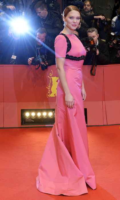 Hot pink with black embellishments made for a memorable ensemble at a screening of 'The Grand Budapest Hotel' in Berlin. 