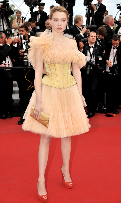 The actress gave an old-world structured corset a modern twist courtesy of ruffled tulle at the premiere or 'Robin Hood' at the 63rd Cannes Film Festival in 2010. 