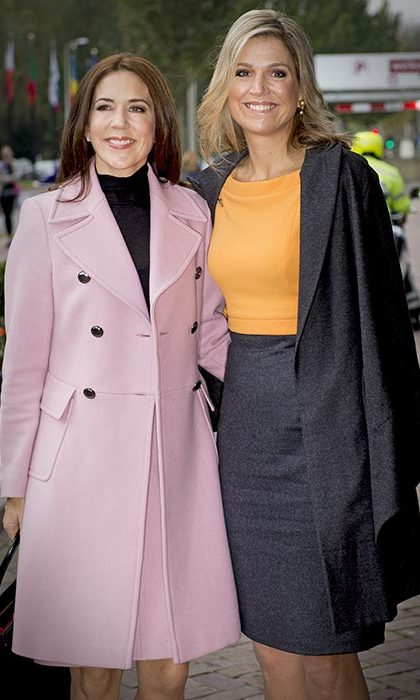 Princess Mary of Denmark with her good friend and fellow royal Queen Maxima of the Netherlands at the third World Conference of Women's Shelters in The Hague.