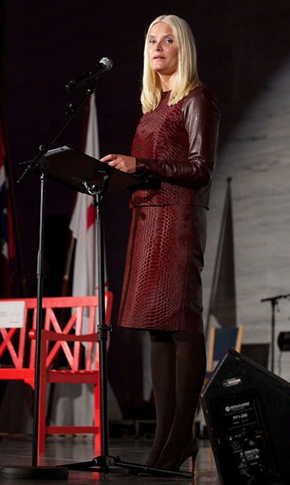 Princess Mette-Marit of Norway speaks at the Celebration of The 150th Anniversary of the Norwegian Red Cross in Oslo.