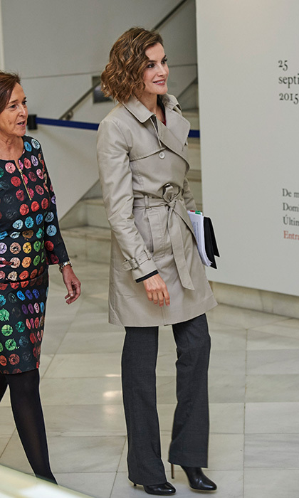 Queen Letizia of Spain heads to an event in Madrid. 