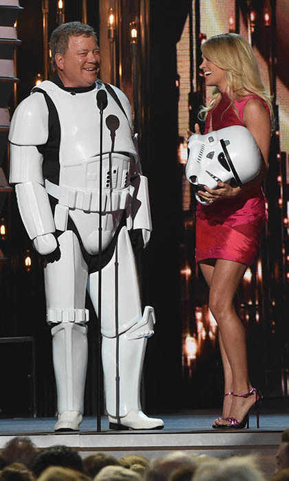 CMA Awards co-host Carrie Underwood shares a laugh with Canadian actor William Shatner, who swapped his Captain Kirk uniform for a stormtrooper suit.  