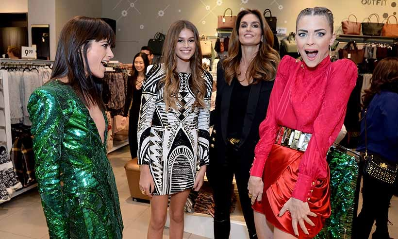 Hollywood beauties (L-R) Selma Blair, Kaia Gerber with mom Cindy Crawford, and actress Jaime King celebrate the launch of Balmain's collaboration with H&M.  
