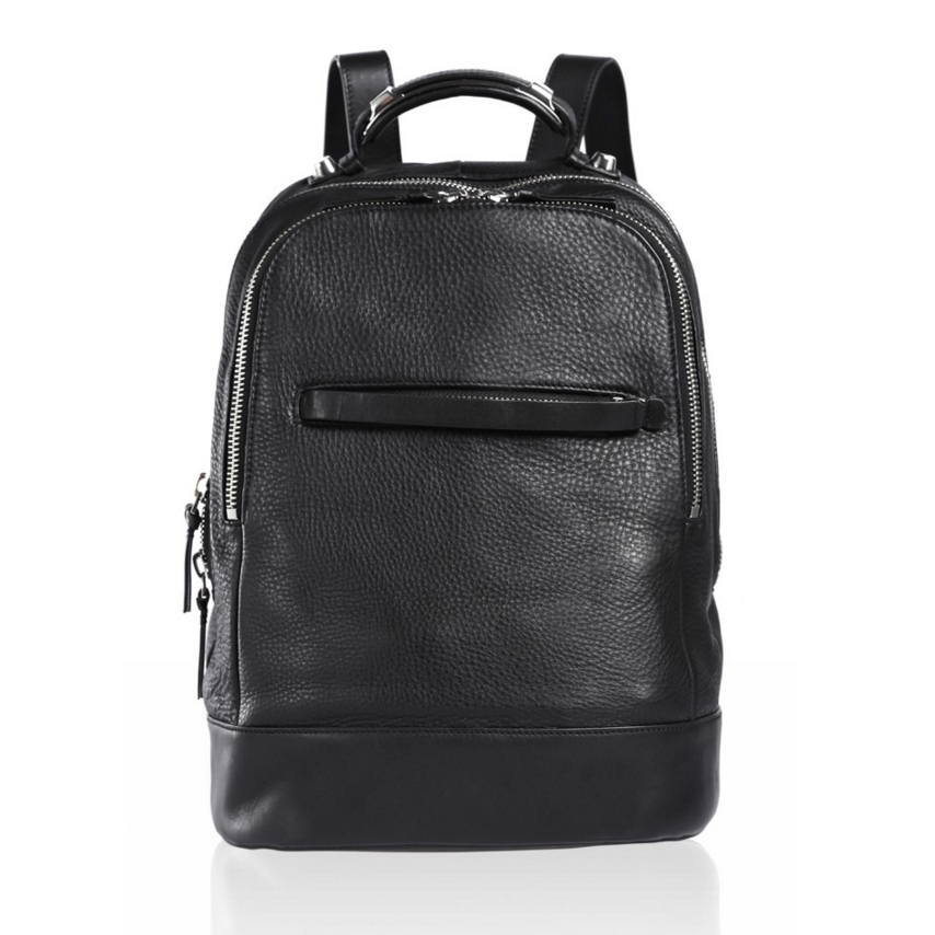 Mackage Black Leather Backpack, $595, mackage.com. 