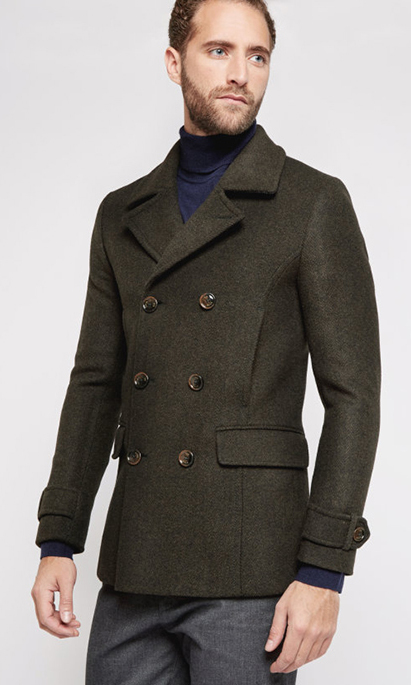 Ted Baker Ossain Herringbone Wool-Blend Peacoat, $595, tedbaker.com/ca. 